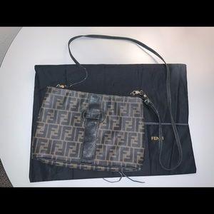 Authentic fendi zucca crossbody shoulder bag pouch